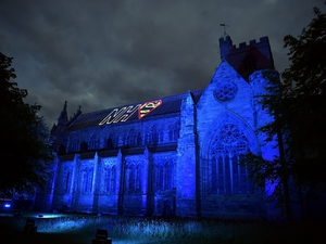 Carlisle Cathedral bathed in blue for the NHS